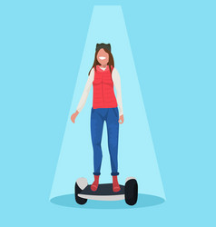 happy woman riding electric scooter girl standing vector image