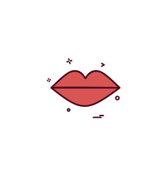 heart lipstick lips red icon design vector image
