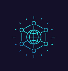 International business global markets linear icon vector