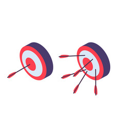 isometric targets archery arrow in goal and vector image