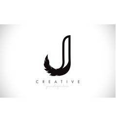J feather letter logo icon design with feather vector