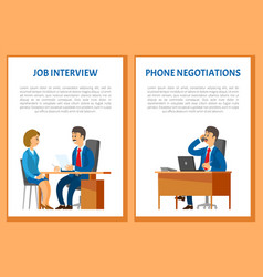 Job interview and phone negotiations vector