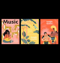 Jungle sounds set banners vector