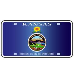 Kansas flag license plate vector