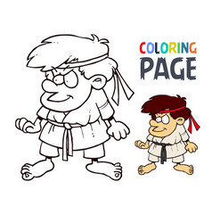 Karate martial art cartoon people coloring page vector