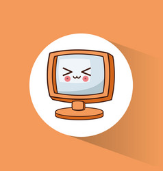 kawaii monitor technology image vector image
