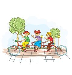 Kids on a bike vector