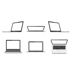 laptop set with empty space on white background vector image