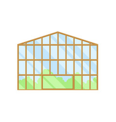 Large glass greenhouse on vector