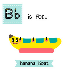 Letter b tracing banana boat vector