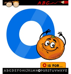 letter o with orange cartoon vector image