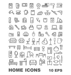 Linear icons of furniture appliances and vector