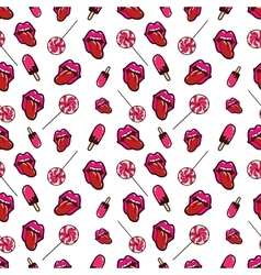 Lips candies and ice cream seamless pattern vector