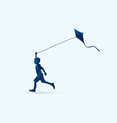 Little boy running with kite graphic vector