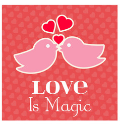 love is magic typogrpahic card with pattern vector image