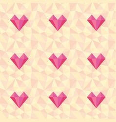 low poly heart pattern seamless love background vector image