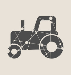 low poly style of a farmer tractor vector image