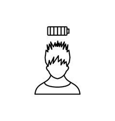 Man with low battery over head icon outline style vector