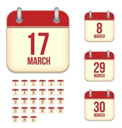 March calendar icons vector