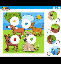 Match pieces game with cartoon dogs characters vector
