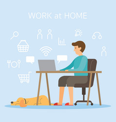 Men use computer and internet working at home vector