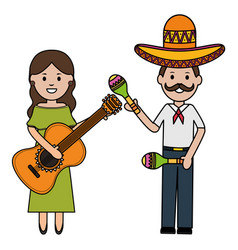Mexicans couple with mariachi hat and instruments vector