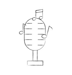 microphone audio with notes vector image