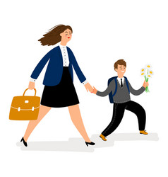 Mother with son going in school boy bring flowers vector