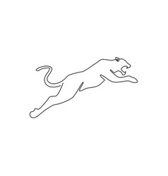 One continuous line drawing wild leopard vector