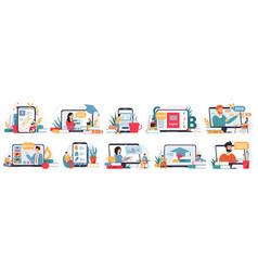 online education internet classes webinar or vector image