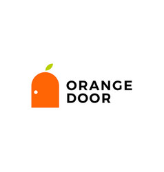Orange door fruit logo icon vector