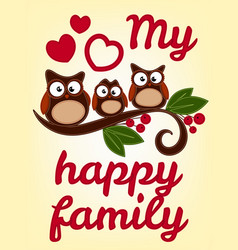 owl family sitting on a tree branch vector image