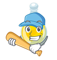 Playing baseball sesame oil in a cartoon bottle vector