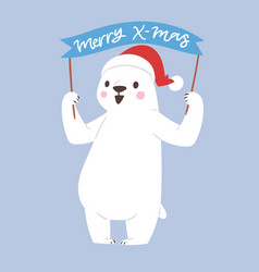 polar white bear animal cute beauty vector image