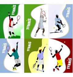 Poster tennis player colored for designers vector