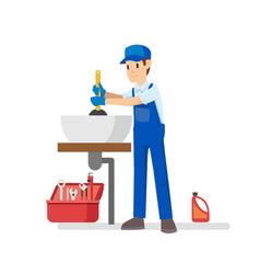 Professional plumber repairing something vector