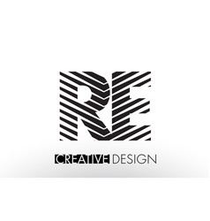 Re r e lines letter design with creative elegant vector