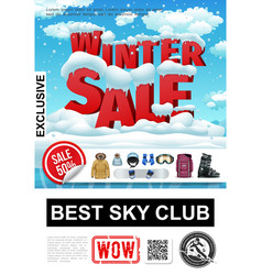 realistic winter sale advertising poster vector image