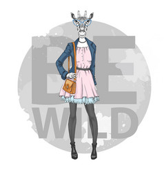 Retro hipster fashion animal giraffe woman model vector