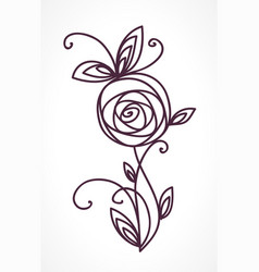rose stylized flower symbol vector image