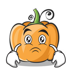 sad face pumpkin character cartoon style vector image