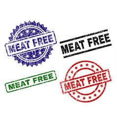 scratched textured meat free stamp seals vector image