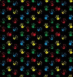 Seamless pattern hand print colored vector