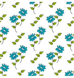 seamless pattern with cute doodle flower vector image