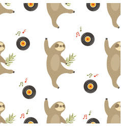 seamless pattern with funny dancing sloths vector image