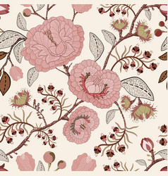 Seamless pattern with stylized flowers and vector