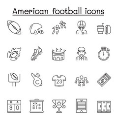 Set american football related line icons vector