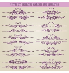 set floral decorative elements vector image