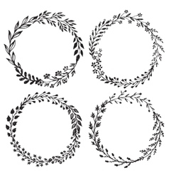 Set hand drawn floral wreaths vector