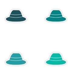 Set of paper stickers on white background hat vector